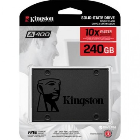 Kingston SSD 240GB A400 SATA3 2.5 SSD (7mm height), TBW: 80TB, EAN: 740617261219