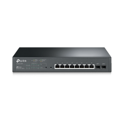 TP-LINK JetStream T1500G-10MPS - Switch - Managed - 8 x 10/100/1000 + 2 x Gigabit SFP - desktop, rack-mountable - PoE+ (116 W)