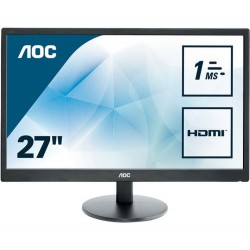 "Monitor 27"" AOC E2770SH, FHD, Wide, TN, 16:9, 1920*1080, LED, 1 ms, 300 cd/m2, 170/160, 1000:1, HDMI, D-SUB, DVI, VESA, Speaker"